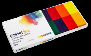 Wachsmalblöcken 8er Schachtel, verschiedene Farben, nachhaltig, ohne Palmölwachs, ohne Erdölwachs
